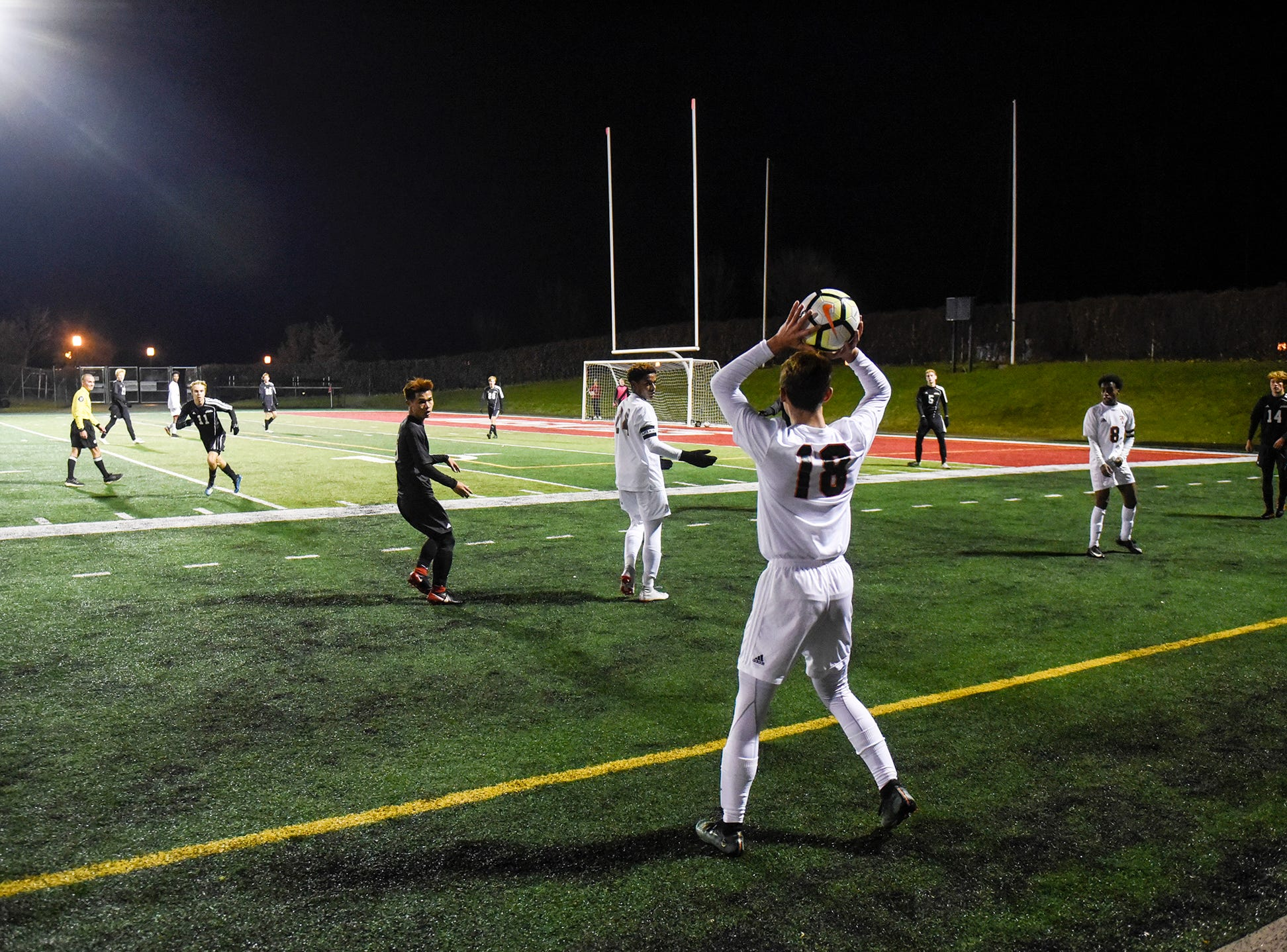 Tech gets ready to bring the ball inbounds during the Thursday, Oct. 25, Class 2A state quarterfinal game at Husky Stadium in St. Cloud.