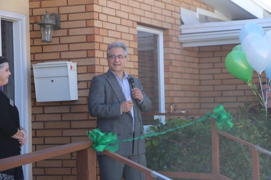 Scott Catuccio, Youth Futures founder and director of the board, speaks at the ribbon cutting ceremony for its St. George Shelter on Oct. 26, 2018.