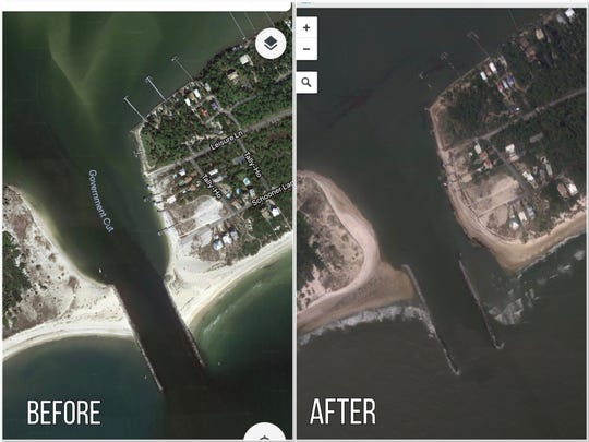 Water from Hurricane Michael washed sand from behind the Bob Sikes Cut jetty.