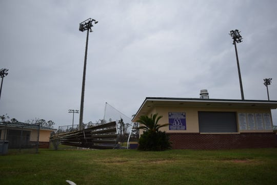 Marianna High School's softball field sustained damage during Hurricane Michael.