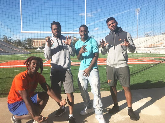 FAMU's four-wide crew from left to right of Chad Hunter, Marcus Williams, Xavier Smith and Azende Rey. Statistically, their collective stats make them the best receiving group in the MEAC.