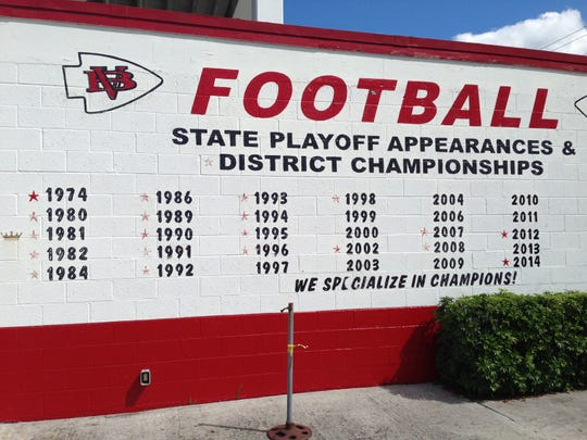 Before it was renovated in 2016 and 2017, the Citrus Bowl included a list of every district title and playoff appearnace by Vero Beach. The stars noted district titles, the crown noted the 1981 Class 4A state title.
