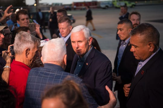 Vice President Mike Pence flies into Vero Beach Regional Airport on Thursday, Oct. 25, 2018, to attend a John's Island fundraiser for Gov. Rick Scott's U.S. Senate campaign.