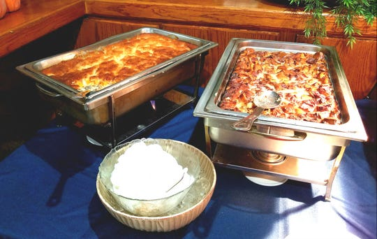 Brunch at the Seminole Inn is served buffet style with several stations. Pictured is peach cobbler and bread pudding with whipped cream.