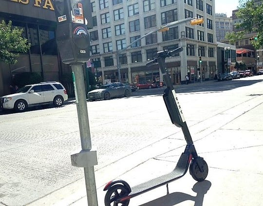 A Bird electric scooter is parked along Mills Avenue in Downtown El Paso on Oct. 26.