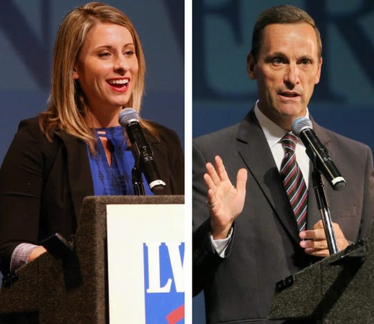 25th Congressional District candidates Katie Hill and Rep. Steve Knight debated in October at Santa Susana High School in Simi Valley.