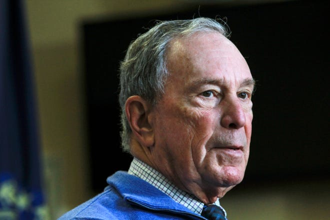 In this Oct. 13 photo, former New York City Mayor Michael Bloomberg speaks at a Moms Demand Action gun safety rally at City Hall in Nashua, N.H. A political committee backed by the billionaire is spending nearly $9 million to help two Democrats in tight congressional races against Southern California Republican incumbents.