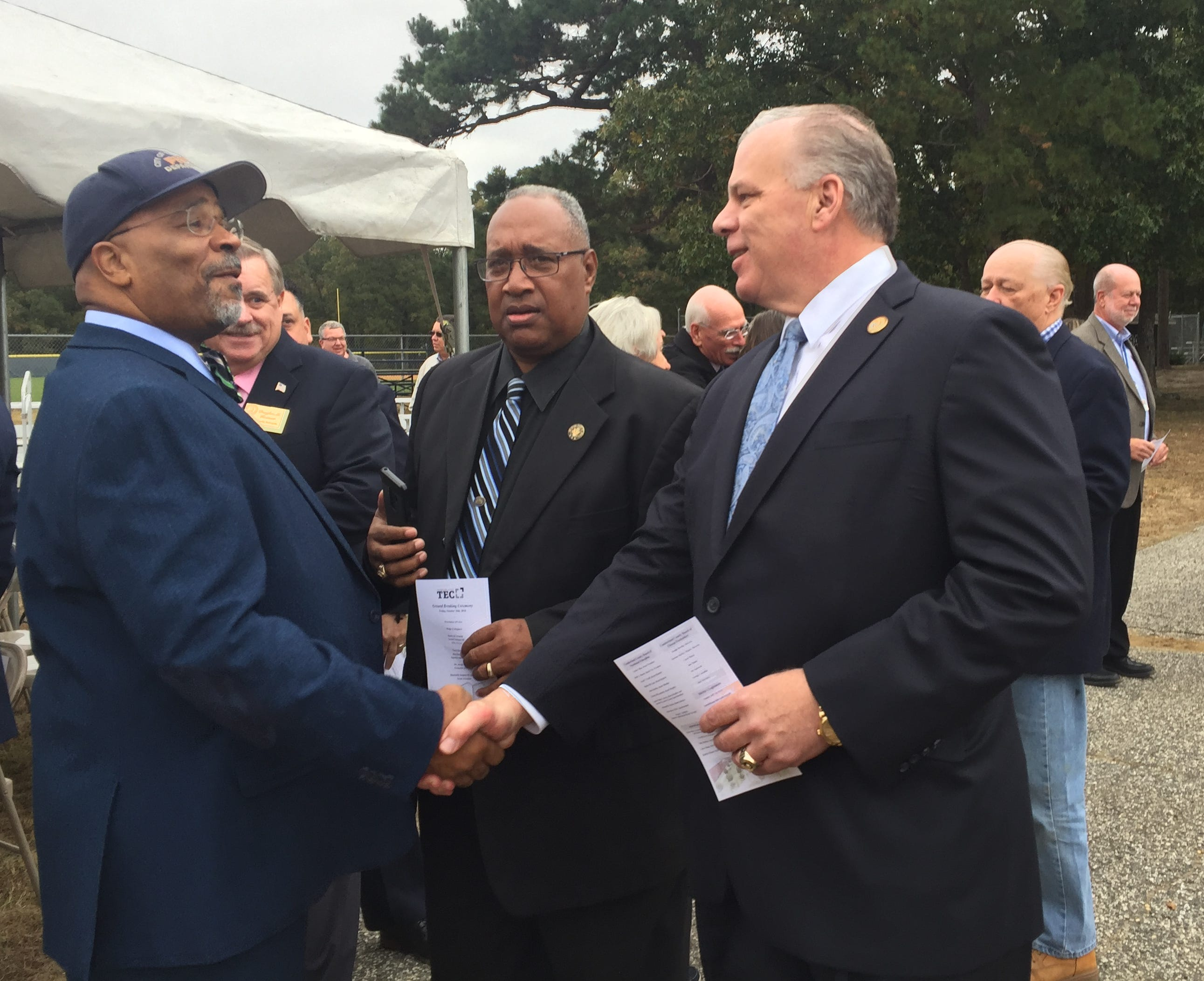 Bridgeton Mayor Albert Kelly (right) greets New Jersey Senate President Stephen M. Sweeney at Friday's ground-breaking ceremony at the John F. Scarpa Technical Education Center on College Drive in Millville. Work starts soon on a Health Science and Medicine building.