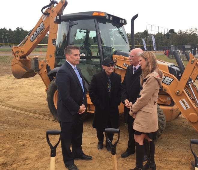 Cumberland County officials gathered at the John F. Scarpa Technical Education Center in Millville Friday afternoon for a ceremonial start to construction of a Health Science and Medicine annex. Left to right: Attorney Douglas Long, a former freeholder; Freeholder Director Joseph Derella; Ron Rossi, a member of Inspira Health Network board of directors; and Dina Elliott, superintendent of the Technical Education Center.