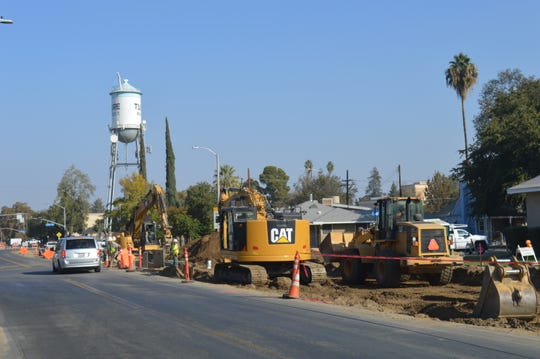 Construction continues on a project on O Street in Tulare.