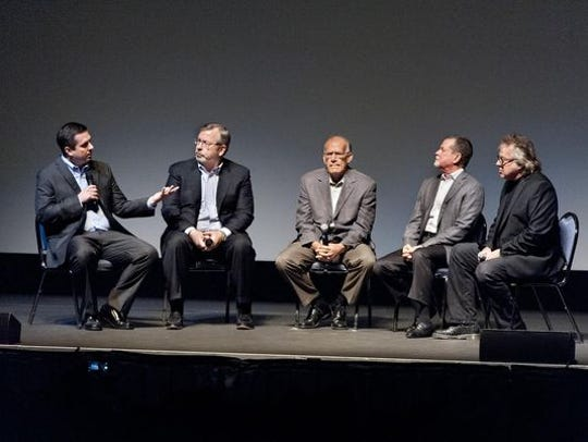 """Congressman Devin Nunes (R-Tulare), left, leads a panel discussion on water with attorney Gary Sawyers, Victor Davis Hanson, writer/director Ray McNally and radio host Ray Appleton before the premier of """"Dead Harvest,"""" at the Fox Theatre in Visalia on Thursday, November 12, 2015 The documentary chronicles the effects of the lack of water for farmland in the Valley."""