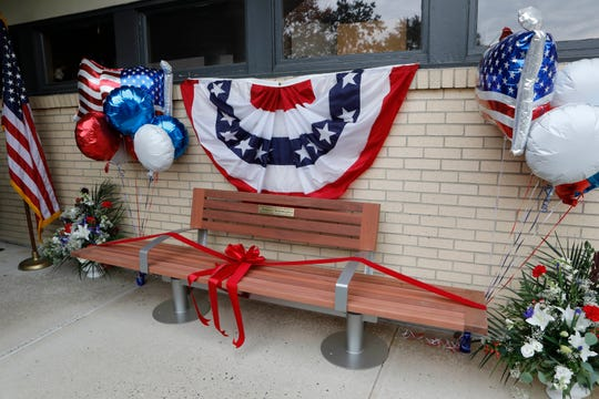 A bench was dedicated to Jerry Donnellan, who was the chair of the Rockland County Veterans Services Agency, at the VA Hudson Valley Health Care New City Outpatient Clinic on Oct. 26, 2018.