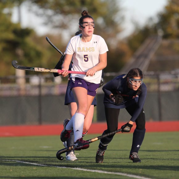 Clarkstown North's Maeve Downes (5) in action during class A field hockey semifinal against Horace Greeley on October 25, 2018