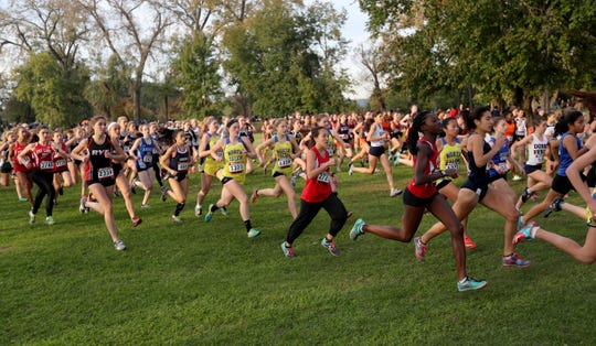 Girls take off at the start of the Westchester County Cross Country Championships at Croton Point Park Oct. 26, 2018.