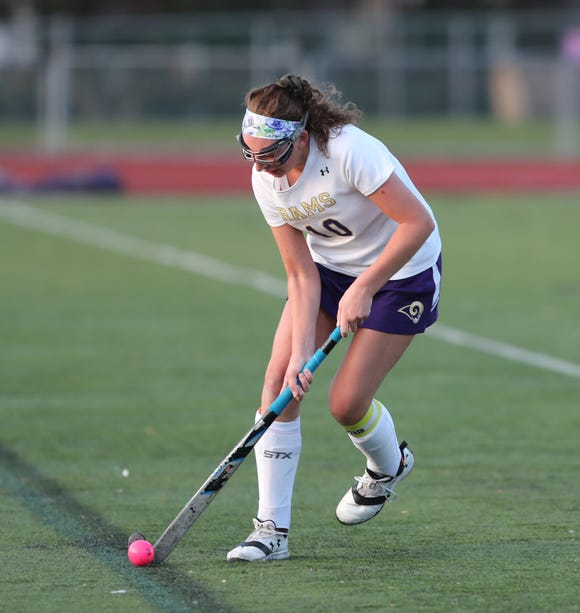 Clarkstown North's Maris Daly (10) in action during the Class 'A' field hockey semifinal game at Clarkstown North High School in New City on Thursday, October 25, 2018.