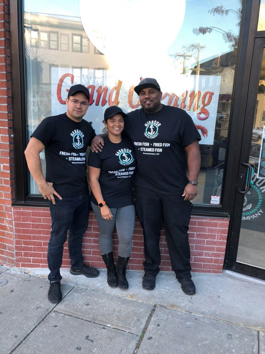 The powers that be behind the new Harbour Fish Company in Mamaroneck: left to right, chef Naldo Morales and owners Quiane and Artie Gaston.