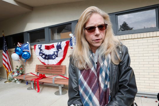 MariEllyn Dykstra-Donnellan talks about her husband, Jerry Donnellan, who was the chair of the Rockland County Veterans Service Agency, at the VA Hudson Valley Health Care New City Outpatient Clinic on Oct. 26, 2018.  A bench was dedicated to Jerry Donnellan's memory.