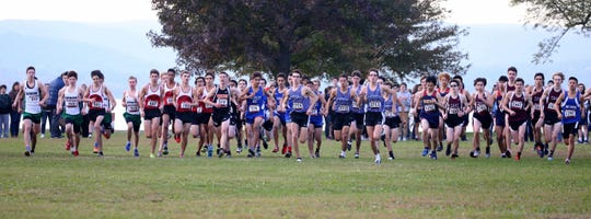 Boys take off at the start of the Westchester County Cross Country Championships at Croton Point Park Oct. 26, 2018. Finishing second was Rizzo's twin brother Matt.