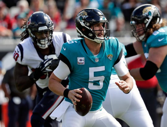 Jaguars quarterback Blake Bortles was benched in the last game. During the Jaguars' three-game losing streak, Bortles has thrown five interceptions and lost two fumbles.