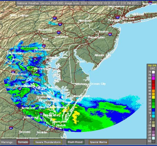 Radar of nor'easter Friday afternoon