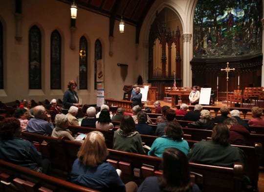 """'Nuns on the Bus' makes a stop on its """"Tax Justice Truth Tour"""" in Wilmington to advocate for turning back Trump's tax cut plan Thursday at the Grace United Methodist Church."""