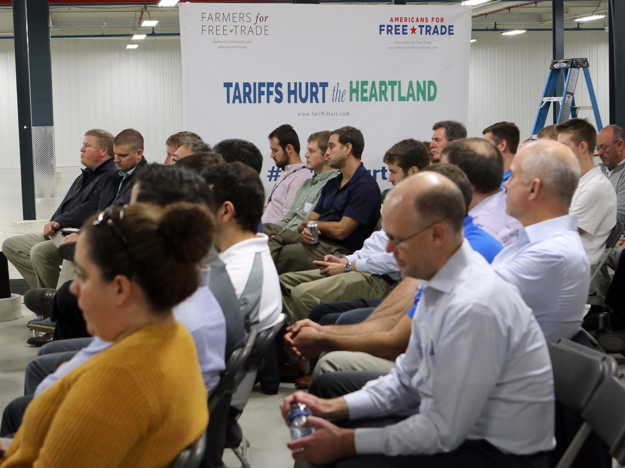 Wisconsin farmers, manufacturers and business owners and employees met at a tariff town hall at Husco International in Waukesha on Oct. 25. A group of panelists discussed the real-world impact of tariffs on Wisconsin businesses and farmers.