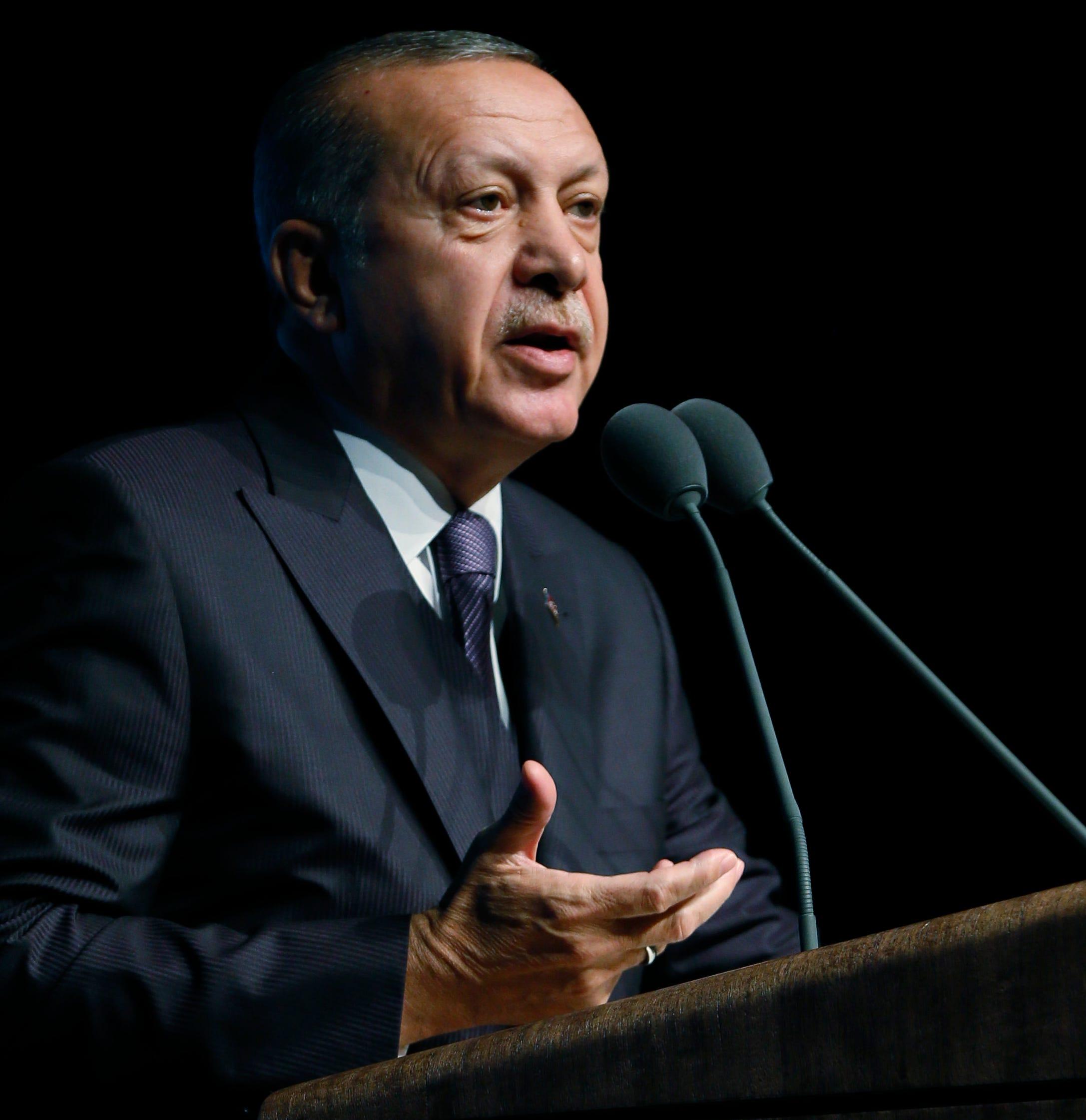 Turkey's President Recep Tayyip Erdogan is pictured speaking at a symposium in Ankara, Turkey.