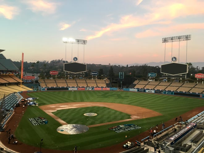 A view of Dodger Stadium on Thursday, ahead of Game 3.