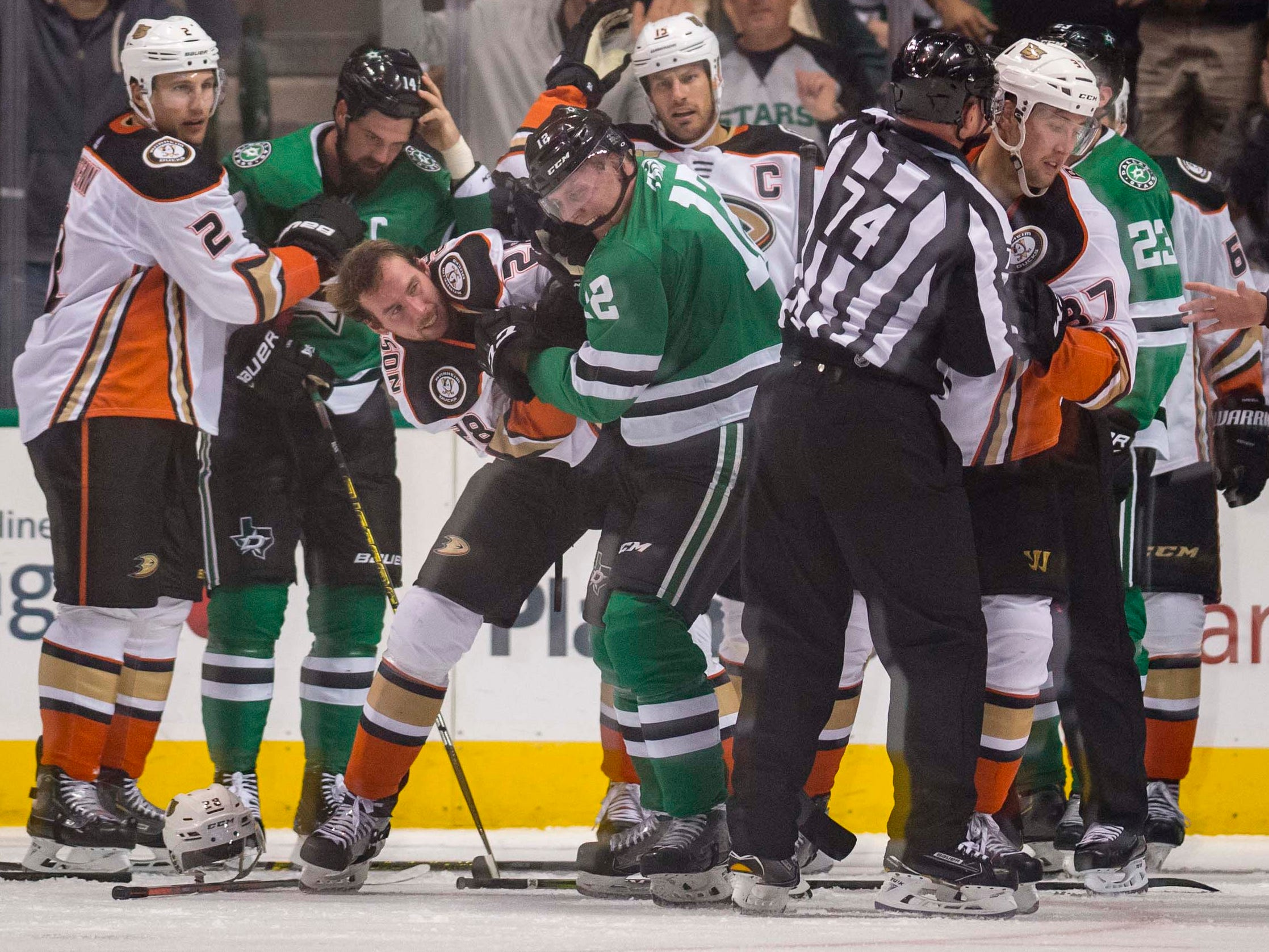 Oct. 25: Anaheim Ducks' Marcus Pettersson vs. Dallas Stars' Radek Faksa.