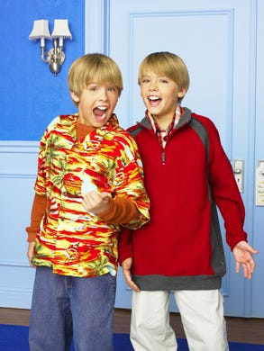 """From 2005 to 2008, Dylan (R) and Cole Sprouse (L) starred in the titular roles on """"The Suite Life of Zack & Cody"""" and then continued on the nautical spinoff, """"The Suite Life on Deck"""" until 2011."""
