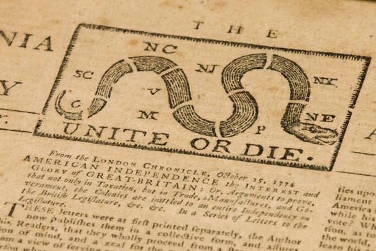 This photo shows a detail of a Dec. 28, 1774 Pennsylvania Journal and the Weekly Advertiser at the Goodwill Industries in Bellmawr, N.J.