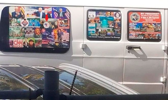 The van of Cesar Sayoc, the suspect accused of sending suspicious packages to prominent Democrats, was covered in political stickers supporting President Donald Trump.