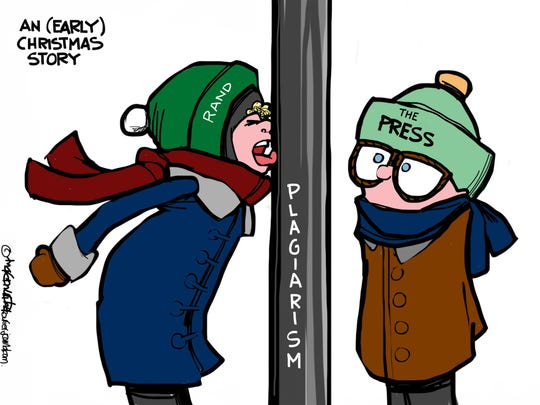 """In this 2013 cartoon by Marc Murphy, titled """"An (Early) Christmas Story,"""" Sen. Rand Paul, R-Ky., gets his tongue stuck on the pole of plagarism, as in """"A Christmas Story"""" the movie. But the press doesn't do anything about it."""
