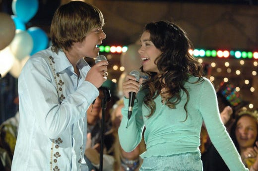 """Zac Efron and Vanessa Hudgens starred as Troy Bolton and Gabriella Montez in the Disney Channel original movie """"High School Musical"""" in 2006."""