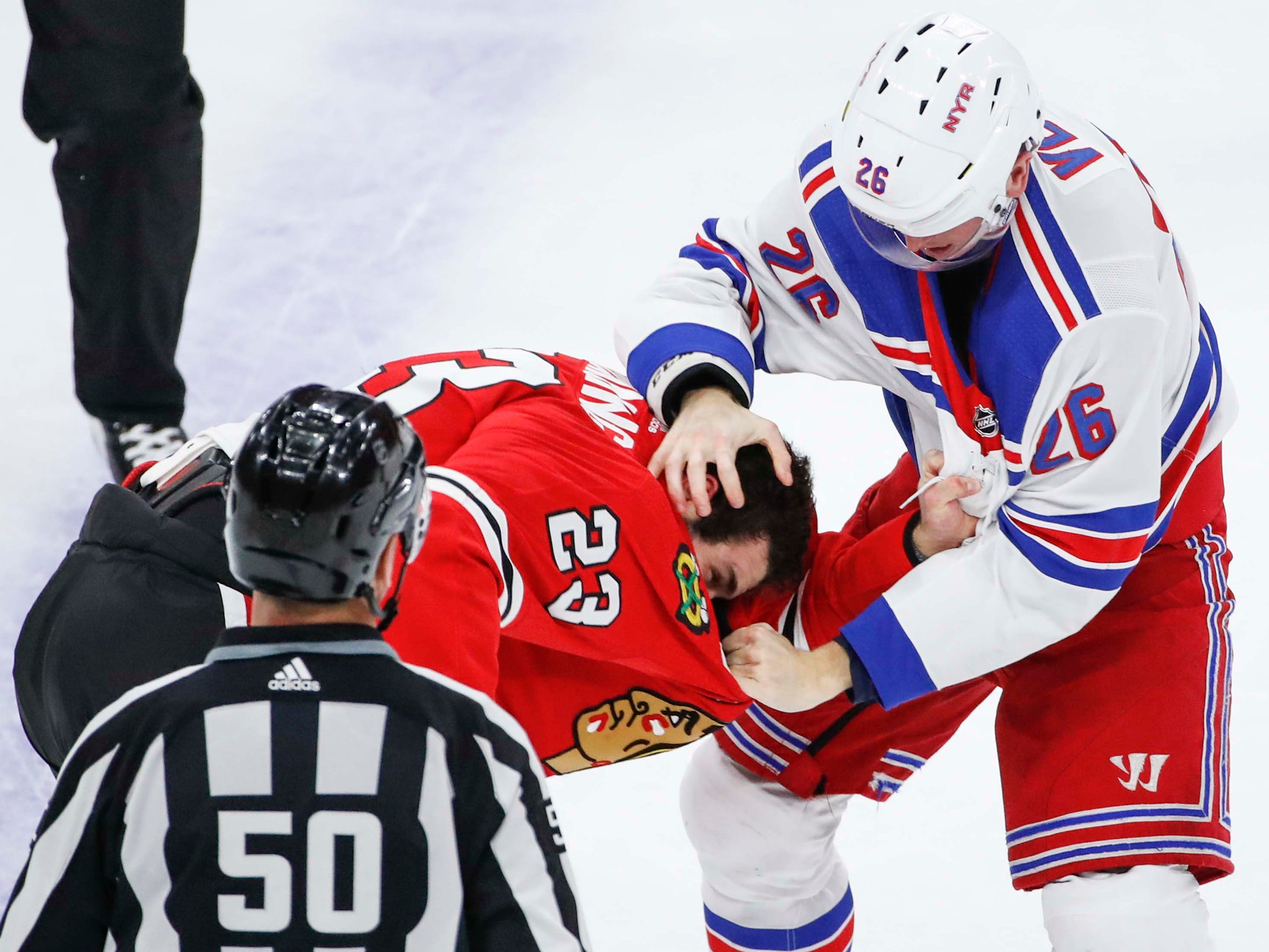 Oct. 25: New York Rangers' Jimmy Vesey vs. Chicago Blackhawks' Brandon Manning.