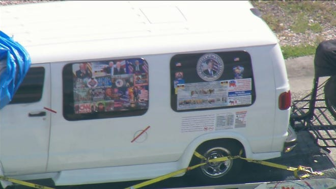 In this still image taken from a video courtesy of television station WPLG, a van is towed on October 26, 2018, in Plantation, Florida, in connection with the 12 pipe bombs and suspicious packages mailed to top Democrats.