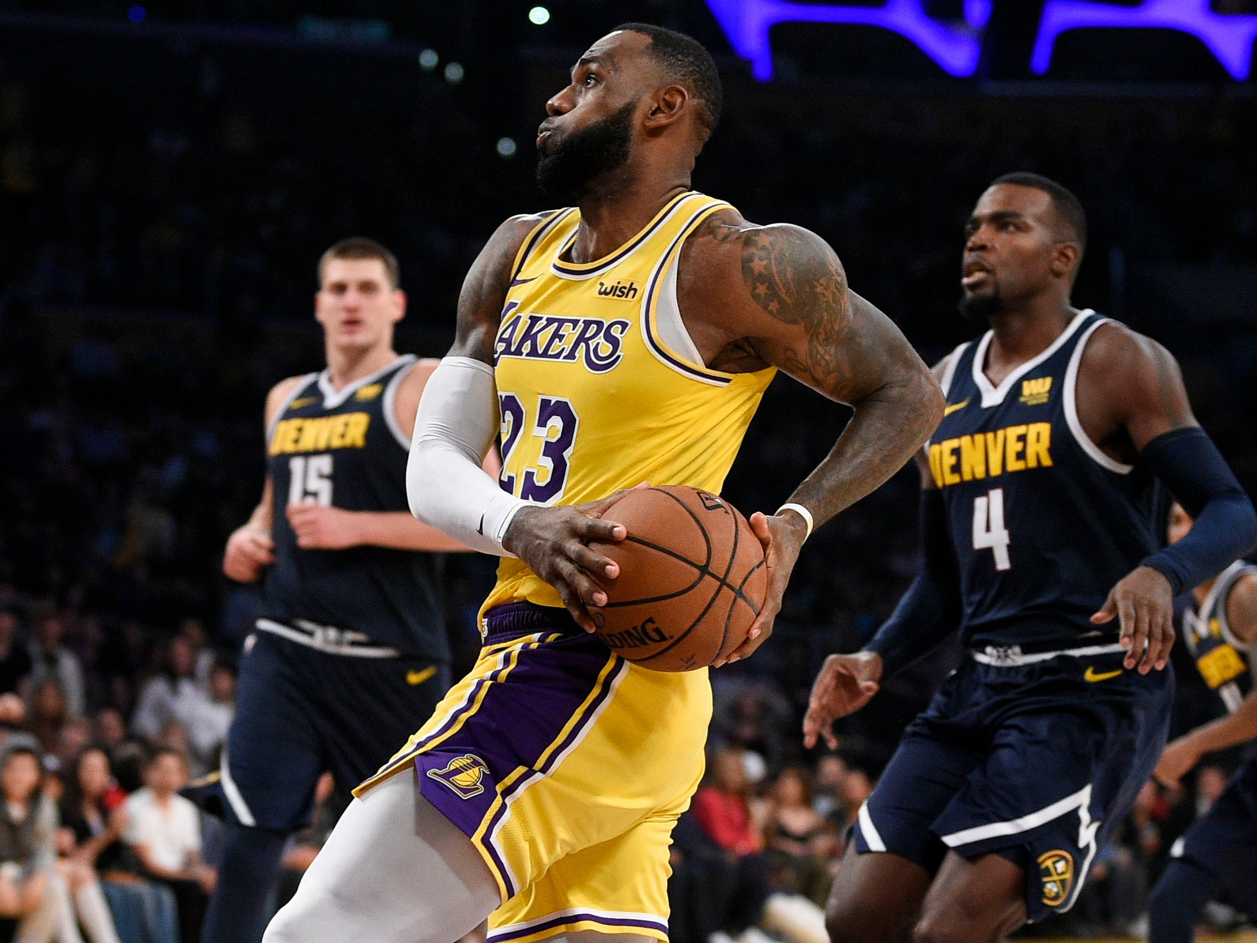 7. LeBron James, Lakers (Oct. 25): 28 points, 11 assists, 11 rebounds in 121-114 win over Nuggets.