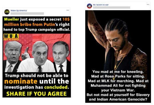 Examples of politically charged Facebook posts that the company says originated in Iran.