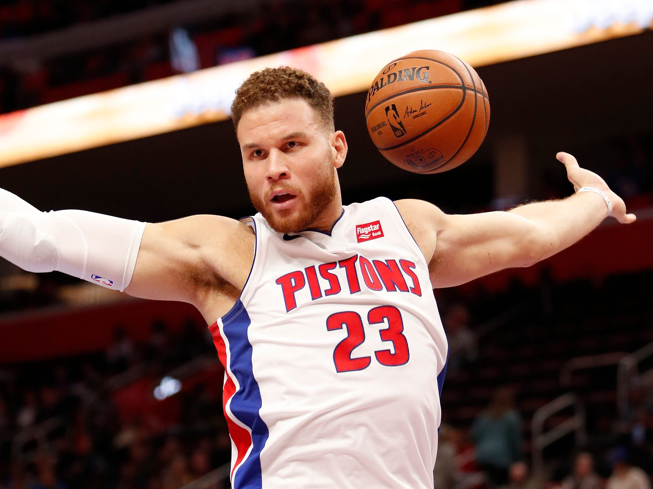 Oct. 25: Pistons forward Blake Griffin finishes off a two-handed slam against the Cavaliers.