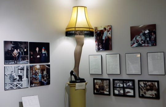 "A replica leg lamp is on display along with other memorabilia from ""A Christmas Story"" at the movie's museum in Cleveland."