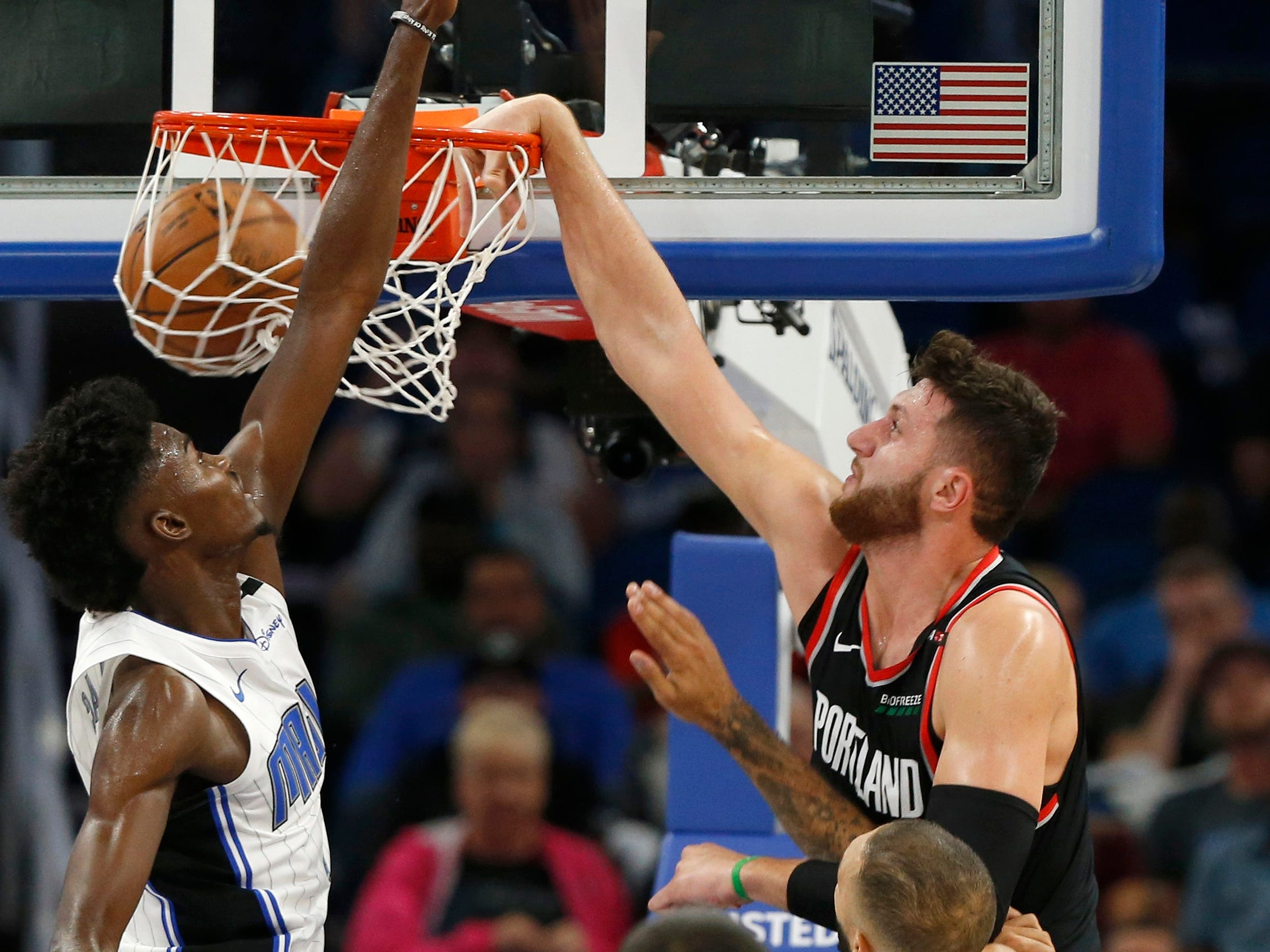 Oct. 25: Trail Blazers center Jusuf Nurkic (27) throws down a one-handed flush over Magic defender Jonathan Isaac (1).