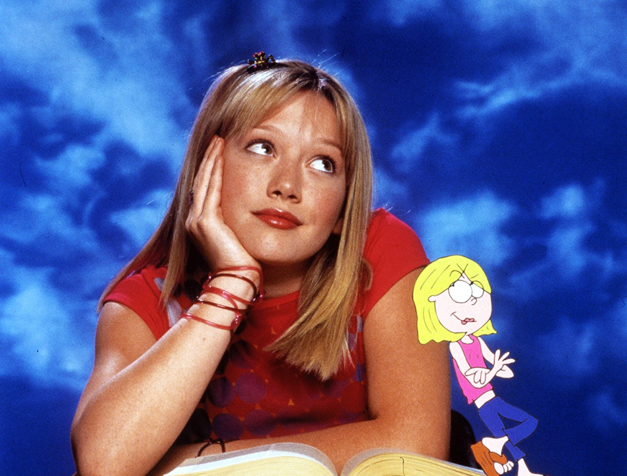 Hilary Duff and her animated friend Lizzie McGuire.  --- DATE TAKEN: rcd 12/00  No Byline   Disney        HO      - handout ORG XMIT: PX37070