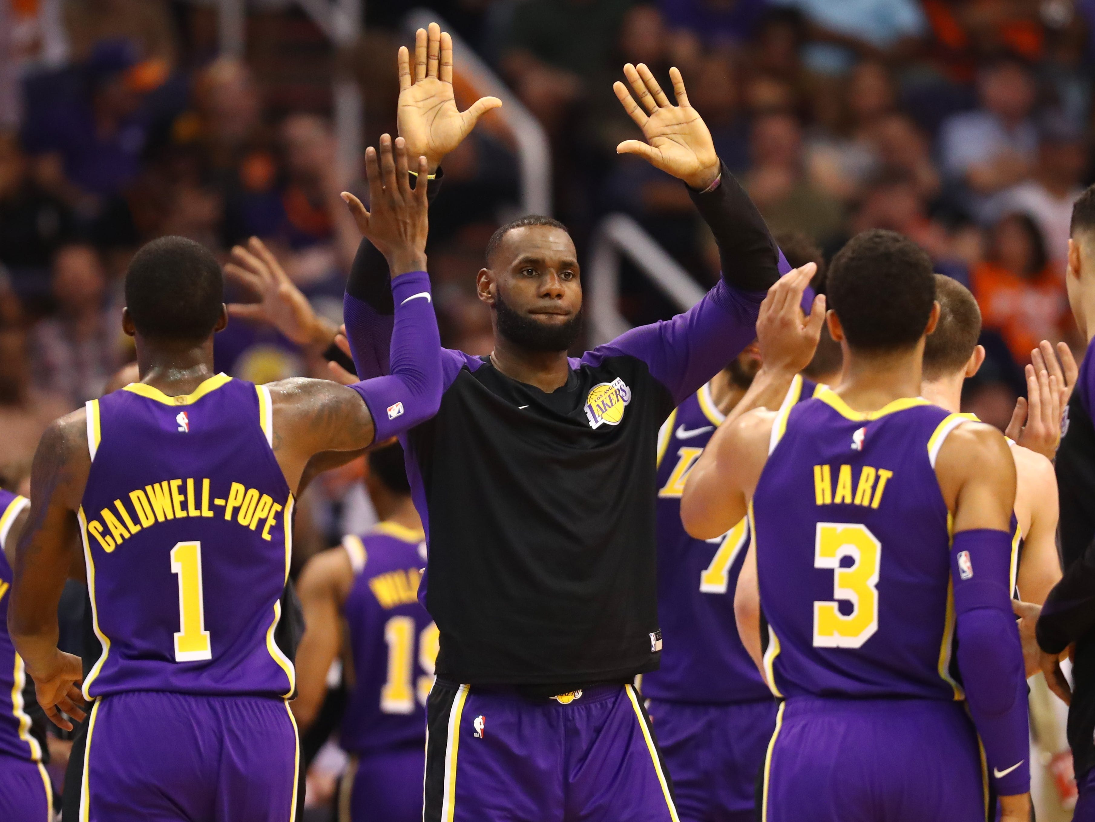 Oct. 24, 2018: It took four tries, but after three straight losses to start the season, LeBron James and the Lakers celebrated their first win against the Suns in Phoenix.