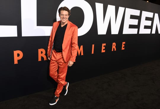 """Jason Blum, producer of """"Halloween,"""" arrives at the film's premiere at the TCL Chinese Theatre in Los Angeles on Oct. 17, 2018."""