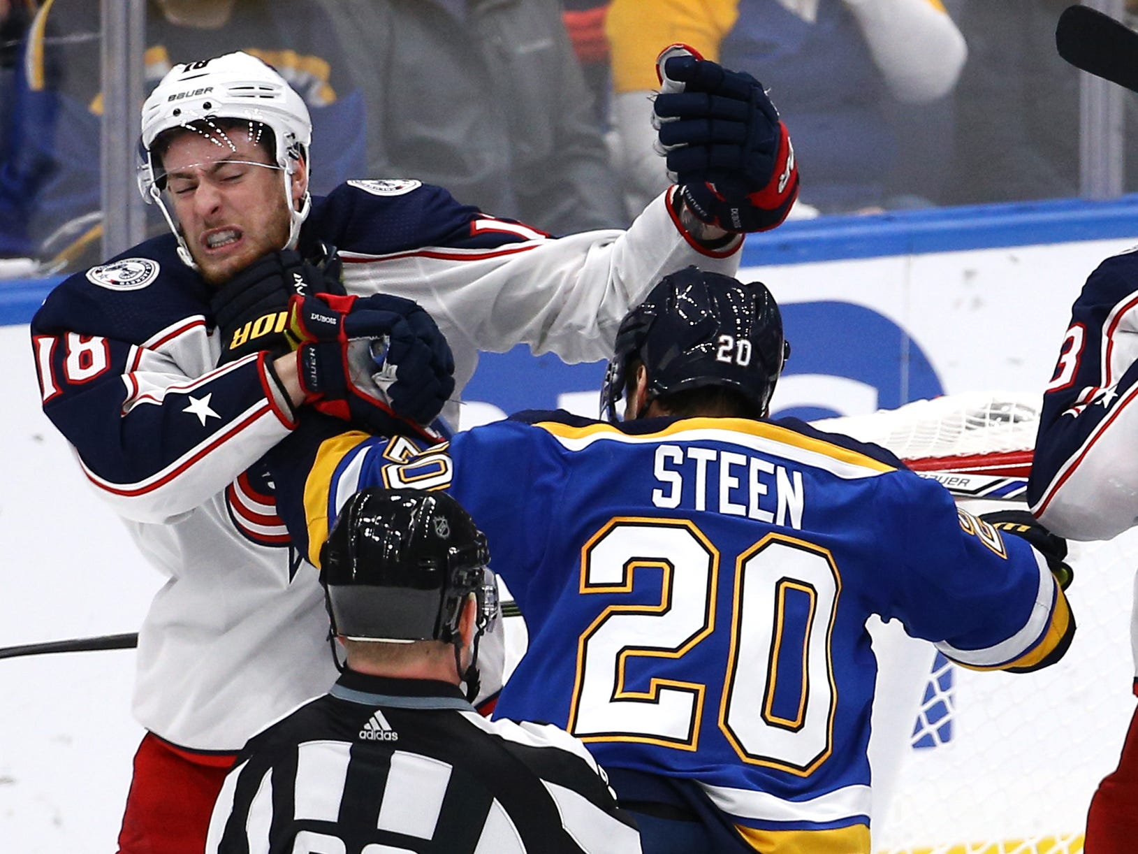 Oct. 25: Columbus Blue Jackets' Pierre-Luc Dubois vs. St. Louis Blues' Alexander Steen.