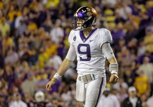 Oct 20, 2018; Baton Rouge, LA, USA; LSU Tigers quarterback Joe Burrow (9) looks on against the Mississippi State Bulldogs during the second half at Tiger Stadium. LSU defeated Mississippi State 19-3. Mandatory Credit: Derick E. Hingle-USA TODAY Sports