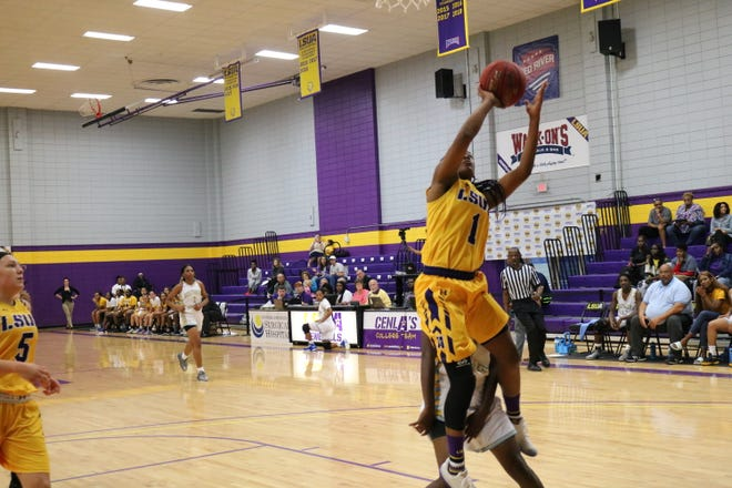 LSUA sophomore Danyale Bayonne (1) skies for a layup against Southern of New Orleans Thursday.