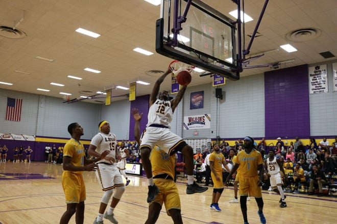 LSUA's Phillip Rankin (12) slams down a dunk against Southern of New Orleans Thursday.