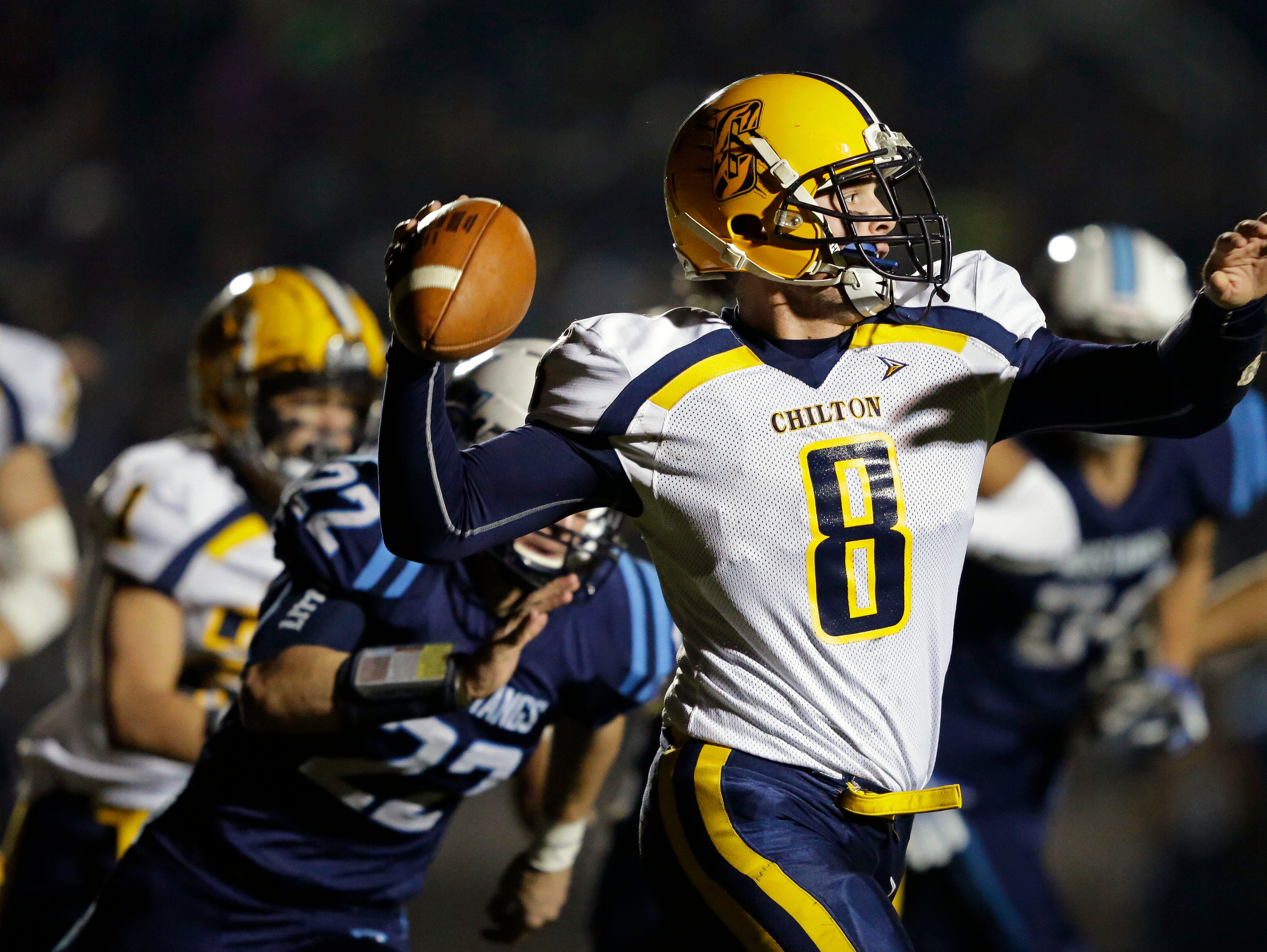 Chilton quarterback Jake Criter passes against undefeated Little Chute in a WIAA Division 4 second round football playoff game Friday, October 26, 2018, at Little Chute High School in Little Chute, Wis.Ron Page/USA TODAY NETWORK-Wisconsin