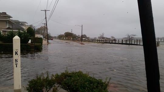 The flooded intersection of Route 35 and K Street in Belmar in October 2018.